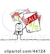 Clipart Illustration Of A Retail Stick Man Holding Up Sale Signs