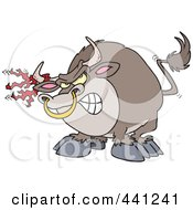 Royalty Free RF Clip Art Illustration Of A Cartoon Bull With Torn Fabric On His Horn by toonaday