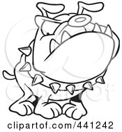 Royalty Free RF Clip Art Illustration Of A Cartoon Black And White Outline Design Of A Bulldog Wearing A Spiked Collar