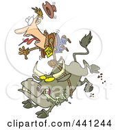 Royalty Free RF Clip Art Illustration Of A Cartoon Rodeo Bull And Cowboy by toonaday