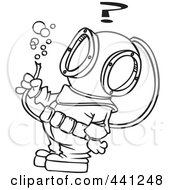 Royalty Free RF Clip Art Illustration Of A Cartoon Black And White Outline Design Of A Diver Looking At A Hose With Bubbles