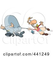 Royalty Free RF Clip Art Illustration Of A Cartoon Rodeo Cowboy Holding Onto A Bulls Tail by toonaday