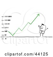 Clipart Illustration Of A Successful Stick Business Man Dancing Under An Ascending Financial Chart