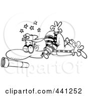 Royalty Free RF Clip Art Illustration Of A Cartoon Black And White Outline Design Of A Knocked Out Burglar by toonaday