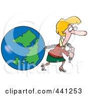 Cartoon Businesswoman Pulling Earth