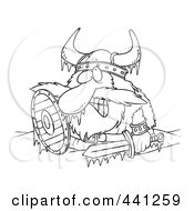 Royalty Free RF Clip Art Illustration Of A Cartoon Black And White Outline Design Of A Frozen Viking by toonaday