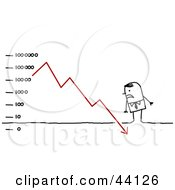 Clipart Illustration Of A Stressed Stick Business Man Standing Over A Descending Financial Chart