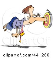 Royalty Free RF Clip Art Illustration Of A Cartoon Businessmans Nose Stuck In A Target by toonaday
