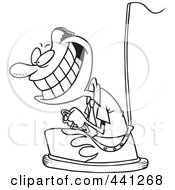 Royalty Free RF Clip Art Illustration Of A Cartoon Black And White Outline Design Of A Black Businessman Driving A Bumper Car