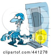 Royalty Free RF Clip Art Illustration Of A Cartoon Burglar At A Door by toonaday