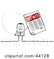 Clipart Illustration Of A Stick Businessman Holding Up An Office Newsletter