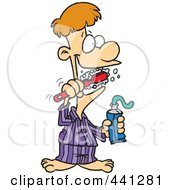 Royalty Free RF Clip Art Illustration Of A Cartoon Man Brushing His Teeth by toonaday