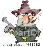 Cartoon Gangster Holding A Gun And Smoking A Cigar