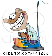Royalty Free RF Clip Art Illustration Of A Cartoon Black Businessman Driving A Bumper Car