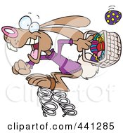 Royalty Free RF Clip Art Illustration Of A Cartoon Springy Easter Bunny