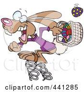 Royalty Free RF Clip Art Illustration Of A Cartoon Springy Easter Bunny