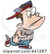 Royalty Free RF Clip Art Illustration Of A Cartoon Mean Bully Boy Walking by toonaday
