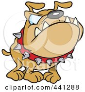 Royalty Free RF Clip Art Illustration Of A Cartoon Bulldog Wearing A Spiked Collar