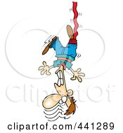 Royalty Free RF Clip Art Illustration Of A Cartoon Male Bungee Jumper by toonaday