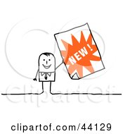 Clipart Illustration Of A Stick Businessman Holding Up A New Advertisement