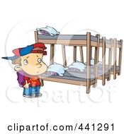 Cartoon Summer Camp Boy Looking At Bunk Beds