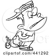 Royalty Free RF Clip Art Illustration Of A Cartoon Black And White Outline Design Of A Mean Bully Boy Walking by toonaday