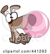 Royalty Free RF Clip Art Illustration Of A Cartoon Dog Blowing Bubble Gum by toonaday