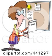 Royalty Free RF Clip Art Illustration Of A Cartoon Woman Posting A Volunteers Needed Sign On A Bulletin Board by toonaday
