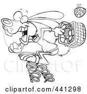 Royalty Free RF Clip Art Illustration Of A Cartoon Black And White Outline Design Of A Springy Easter Bunny