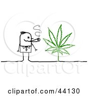 Clipart Illustration Of A Stick Man Smoking Weed