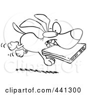Royalty Free RF Clip Art Illustration Of A Cartoon Black And White Outline Design Of A Dog Stealing A Laptop