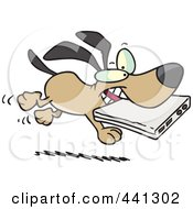 Royalty Free RF Clip Art Illustration Of A Cartoon Dog Stealing A Laptop
