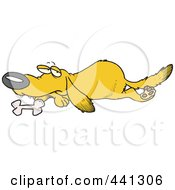 Royalty Free RF Clip Art Illustration Of A Cartoon Yellow Lab Dog Resting By His Bone