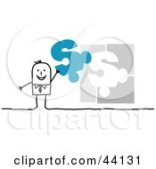 Stick Business Man Holding Up A Blue Dollar Sign Piece To A Jigsaw Puzzle