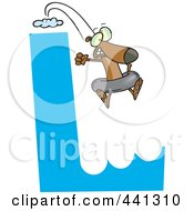 Royalty Free RF Clip Art Illustration Of A Cartoon Dog Leaping Off Of An L Cliff With An Inner Tube