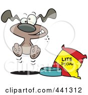 Royalty Free RF Clip Art Illustration Of A Cartoon Hungry Dog By A Bag Of Diet Food