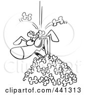 Royalty Free RF Clip Art Illustration Of A Cartoon Black And White Outline Design Of A Dog Being Buried In A Bone Landslide