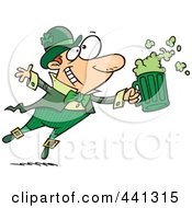 Royalty Free RF Clip Art Illustration Of A Cartoon Toasting Leprechaun by Ron Leishman