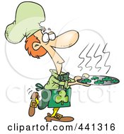 Royalty Free RF Clip Art Illustration Of A Cartoon Chef Leprechaun Serving Shamrock Cookies by Ron Leishman
