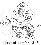 Royalty Free RF Clip Art Illustration Of A Cartoon Black And White Outline Design Of A Presenting Leprechaun by Ron Leishman