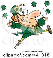 Royalty Free RF Clip Art Illustration Of A Cartoon Leaping Leprechaun by Ron Leishman