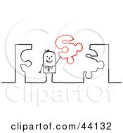 Clipart Illustration Of A Stick Businessman Holding Up A Dollar Sign Jigsaw Puzzle Piece