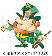 Royalty Free RF Clip Art Illustration Of A Cartoon Presenting Leprechaun by Ron Leishman
