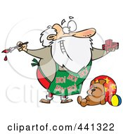 Royalty Free RF Clip Art Illustration Of A Cartoon Santa Painting A Toy Truck In A Workshop by toonaday