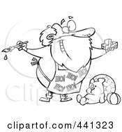 Royalty Free RF Clip Art Illustration Of A Cartoon Black And White Outline Design Of Santa Painting A Toy Truck In A Workshop