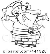 Royalty Free RF Clip Art Illustration Of A Cartoon Black And White Outline Design Of Santa Smiling In A Chimney