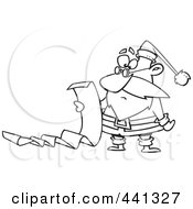 Royalty Free RF Clip Art Illustration Of A Cartoon Black And White Outline Design Of Santa Reading A Long List