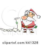 Royalty Free RF Clip Art Illustration Of A Cartoon Santa Reading A Long List