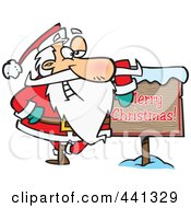Royalty Free RF Clip Art Illustration Of A Cartoon Santa Leaning Against A Merry Christmas Sign
