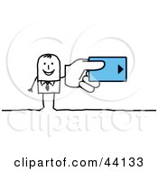 Stick Businessman Holding A Hotel Room Key Card Or A Credit Card